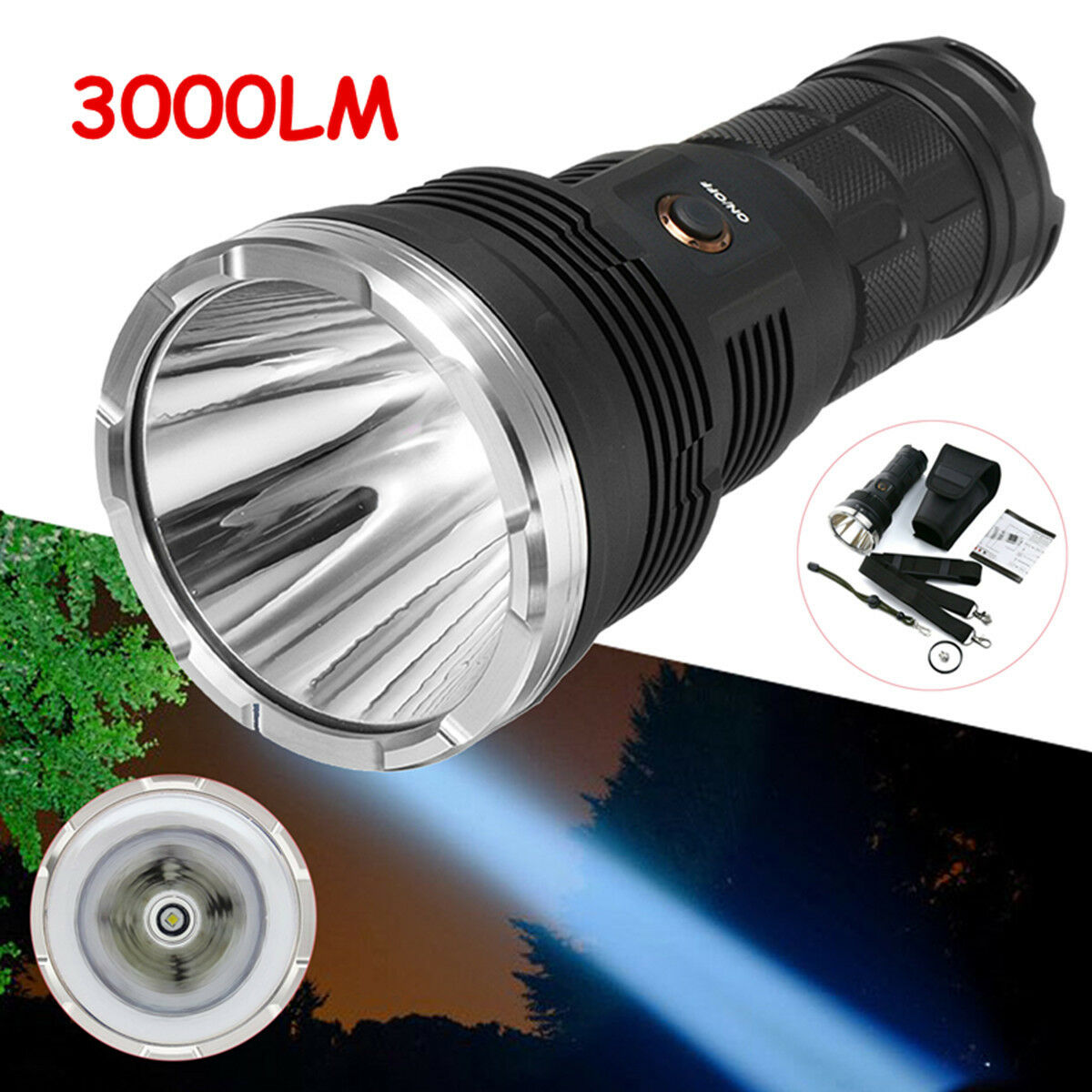 3000lm led zoomable waterproof flashlight light rechargeable 6 modes