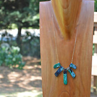 Natural Stone Black & Green Marble Fan Unique Statement Necklace