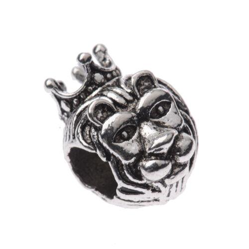 10 PCS Handmade DIY Making Buddha Lion Owl Head Alloy Loose Bead Animal Bracelet