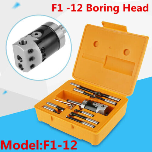 Milling Machine F1-12 MT2-M10 50mm Boring Head With 9pcs 12mm Boring Bars+Box US