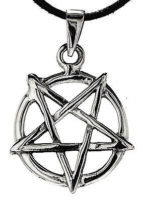 Pentagramm 925 Silber Anhänger Band schwarze Magie Luzifer Satan Pentakel Nr 52
