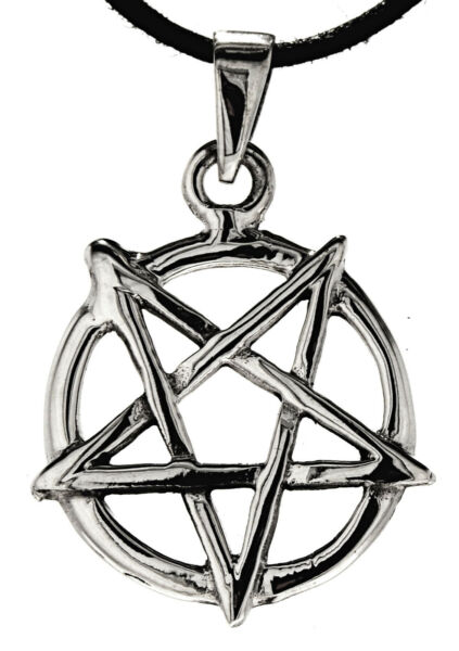 Nr 252: Pentagramm 925 Silber Anhänger & Silberkette Ring Schwarze Magie Satan Modische Muster