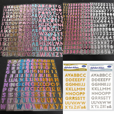 Self Adhesive Stickers Alphabet Letter Number Bubble Glitter Vinyl Card Wedding