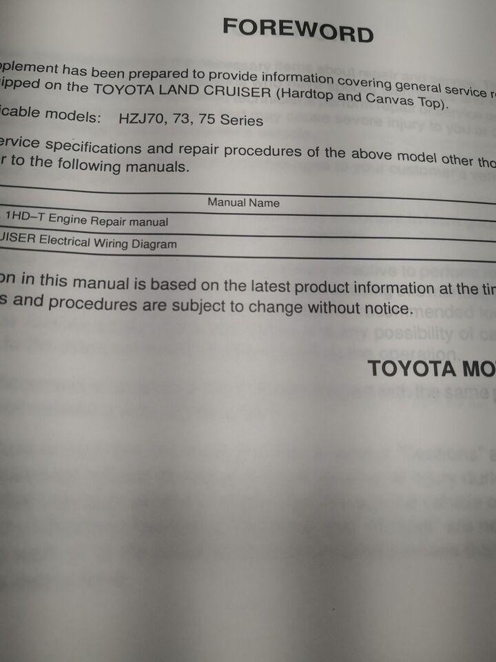Motorbog, Toyota landcruiser motorbog 1HZ supplement
