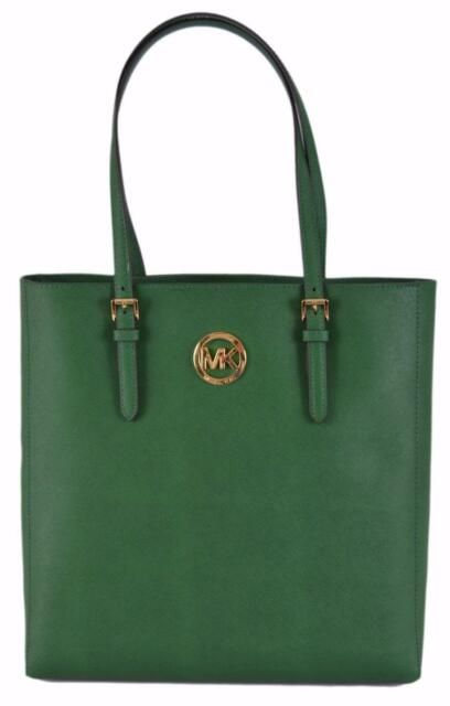 New Michael Kors 278 Large Green Saffiano Leather Jet Set Travel Purse Tote