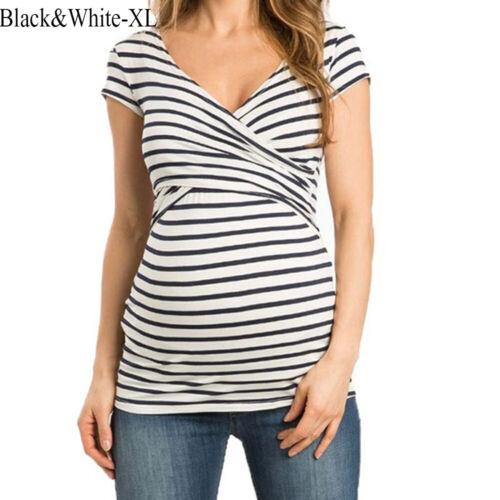 V-neck  Maternity Tops Breastfeeding Clothes Nursing Shirt Pregnant T-Shirts