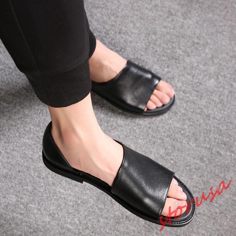 Hombre Cuero Real Negro Puntera Abierta Tacón Bajo Sandalias antideslizante en mocasines zapatos corte talla