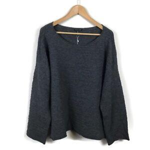 Eileen-Fisher-Sweater-XL-Gray-Bateau-Rib-Knit-Ash-Pullover-Crewneck-Women-s-NWT