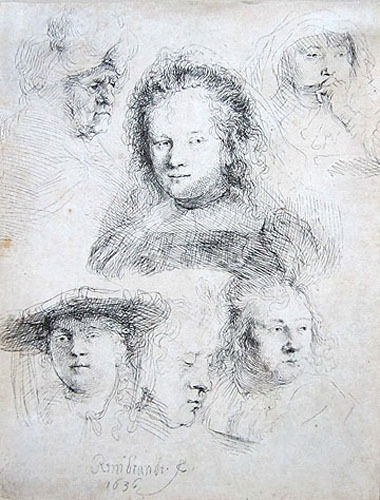 """REMBRANDT Original 1636 Etching - """"Studies of the Head of Saskia and Others"""""""