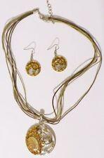 parure collier bijou vintage d'oreille percée émail vernis coul argent * 4953