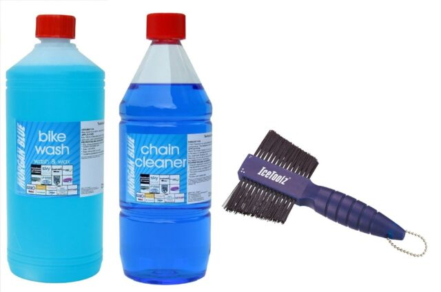 1 Litre MORGAN BLUE CYCLE CHAIN CLEANER + 1 Litre BIKE WASH + IceToolz Brush