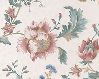 Victorian Sheen Large Floral Rose Gold White Flower Bolt Double Roll Wallpaper