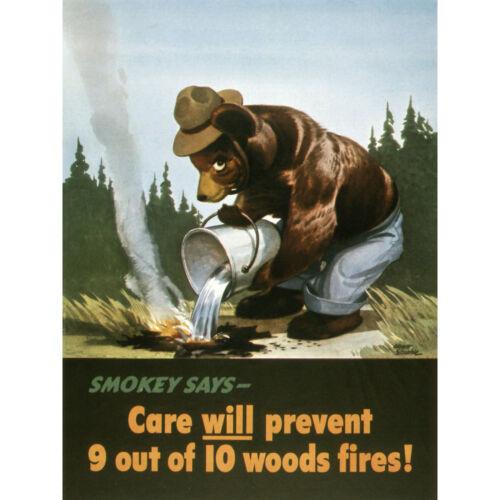 War WWII USA Smokey Bear Prevent Forest Fires Advert Large Wall Art Print 18X24