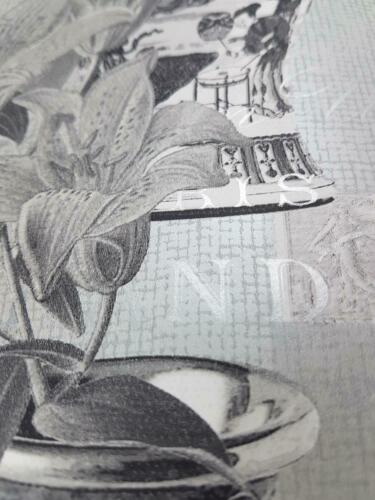 Holden Decor Imari Kyoto Oriental Vases Flowers Wallpaper Grey Silver Metallic