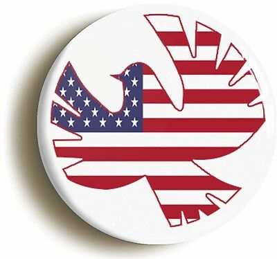 USA FLAG PEACE DOVE BADGE BUTTON PIN (1inch/25mm diameter) RETRO SIXTIES HIPPIE