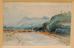 Aquarelle-fin-19eme-la-Peche-a-Pieds-Normandie