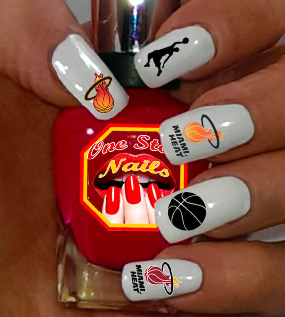 Miami Heat BASKETBALL Nail Art Decals. MH001-63 - Miami Heat Basketball Nail Art Decals. Mh001-63 EBay