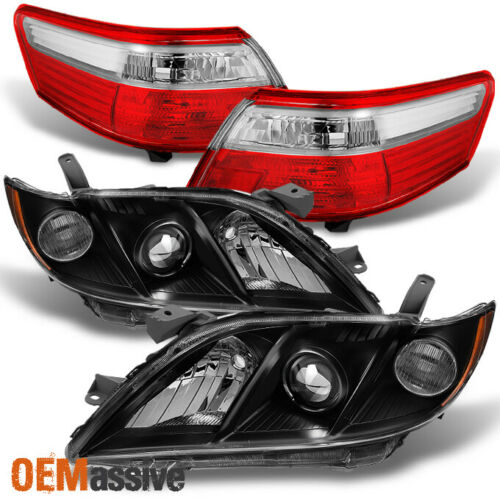 Fits 07-09 Toyota Camry Black Headlights Red Clear Tail Lights Replacement Pair