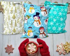 New 10x13 Fall Christmas Snowmen Teal Snowflakes Trees Poly Shipping Mailers