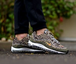 1cc61418ca22c6 Nike Air Max 98 Tiger Camo Khaki Medium Men s Trainers All Sizes ...
