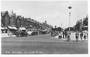 BR81859-the-square-st-anns-on-sea-car-bus-real-photo-uk