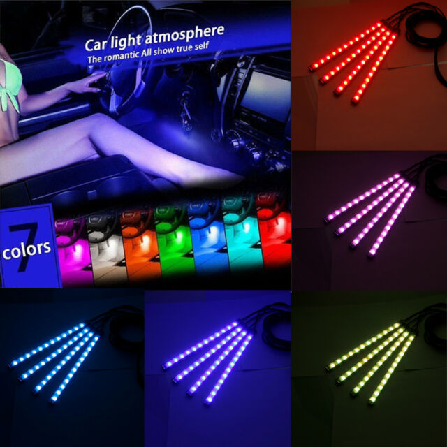 4pcs 12 led interior car atmosphere rgb phone app control floor 4pcs 12 led rgb car atmosphere strip lights interior kit phone app music control aloadofball Gallery