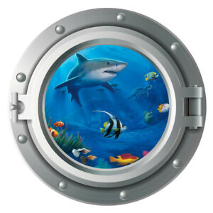 Shark,Sticker,Decal,Tropical Fish,Sea Life,Decor,Porthole,Wall Art,Mural