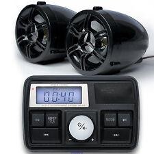 Motorcycle ATV UTV Bike Audio System Handlebar FM Radio MP3 Player w/2 Speakers