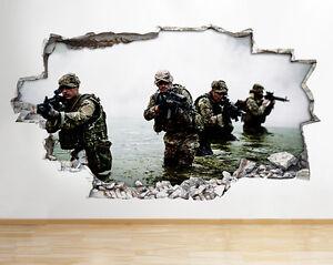 R059-Soliders-Armee-Guerre-Camouflage-Smas-Autocollant-Chambre-3D-Vinyle-enfants