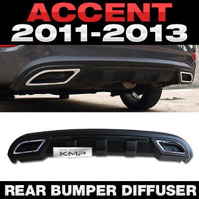 For HYUNDAI 2011-2016 Accent Verna Sedan Rear Bumper Dual Muffler Diffuser Black