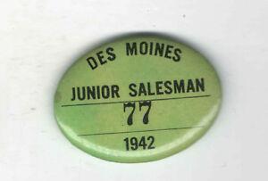 1942-Pin-des-Moines-Pinback-Junior-HANDLER-PLAKETTE-77