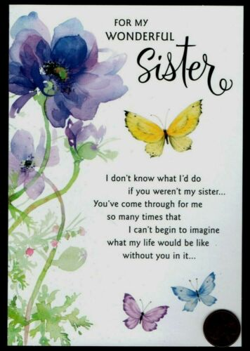 Birthday Butterflies Flowers For Sister BIRTHDAY Greeting Card GLITTERED