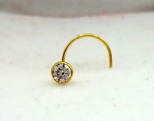 14 K Authentic Gold Nose Pin Stud Ring 1 Stone Cubic Zirconia