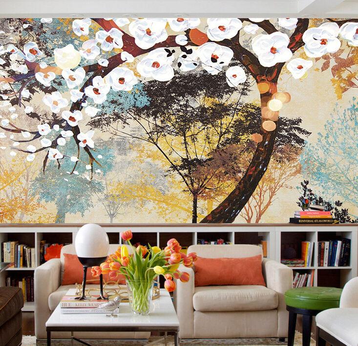 3D Branches Fleur 6 Photo Papier Peint en Autocollant Murale Plafond Chambre Art