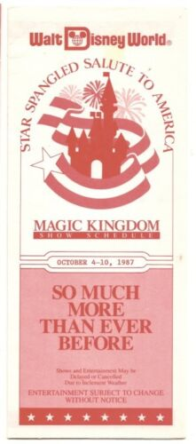 1987 walt Disney WOrld Magic Kingdom Show Guide