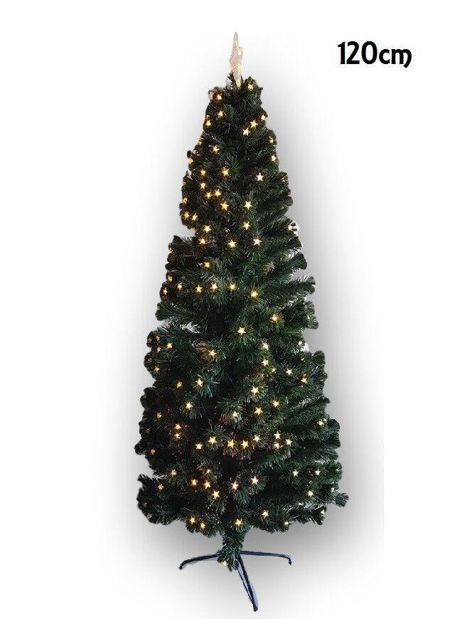 Albero Di Natale Con Luci Stelle Led Gialle Abete Artificiale 120Cm Folto dfh