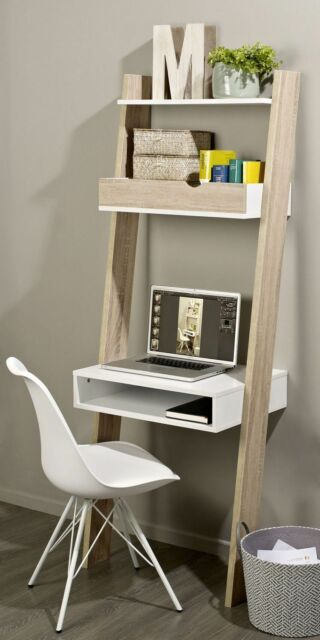 wooden wall desk display storage drawer ladder unit shelf furniture - Desk In Living Room