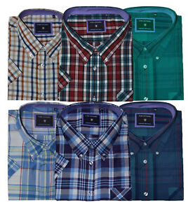 Mens-KAM-Poly-Cotton-Check-Short-Sleeve-Button-Shirt-Work-Casual-Big-Size-2-8XL