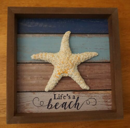 LIFE/'S A BEACH STARFISH Wood Sign Tropical Beach Tiki Bar Coastal Home Decor NEW