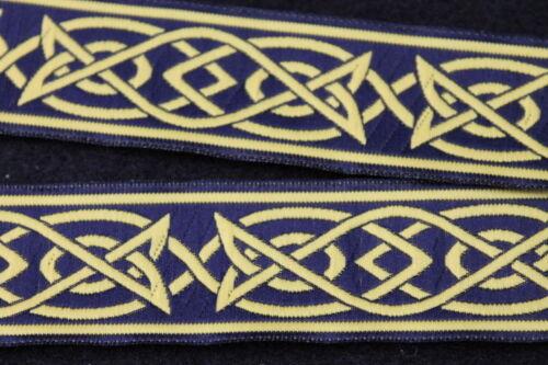 Mittelalterlich Borte dunkelblau//gelb 33mm Keltisch II