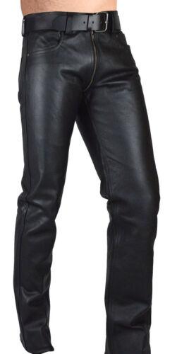 Hommes cuir véritable Gay Pantalon Double Curseur Fermeture Éclair Pantalon en cuir devant et derrière les fermetures à glissière
