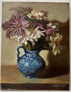 MYSTERY-ARTIST-Contemporary-Oil-Painting-Still-Life-Flowers-Signed-Christopher