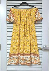 gold-floral-print-off-shoulder-short-slev-dress-L-w-anthropologie-earrings