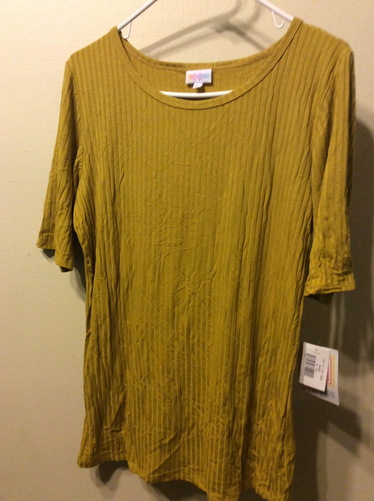 NWT LulaRoe Gigi XL Ribbed golden Yellow Solid Top