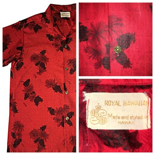 VTG 50's Royal Hawaiian Red Shirt Pineapples Rocka