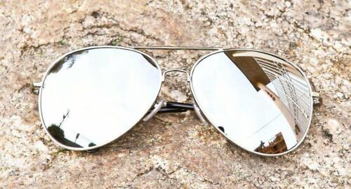 Mens Large SILVER Aviator Mirror Lens Hipster Trendy Fashion Big Sunglasses 215