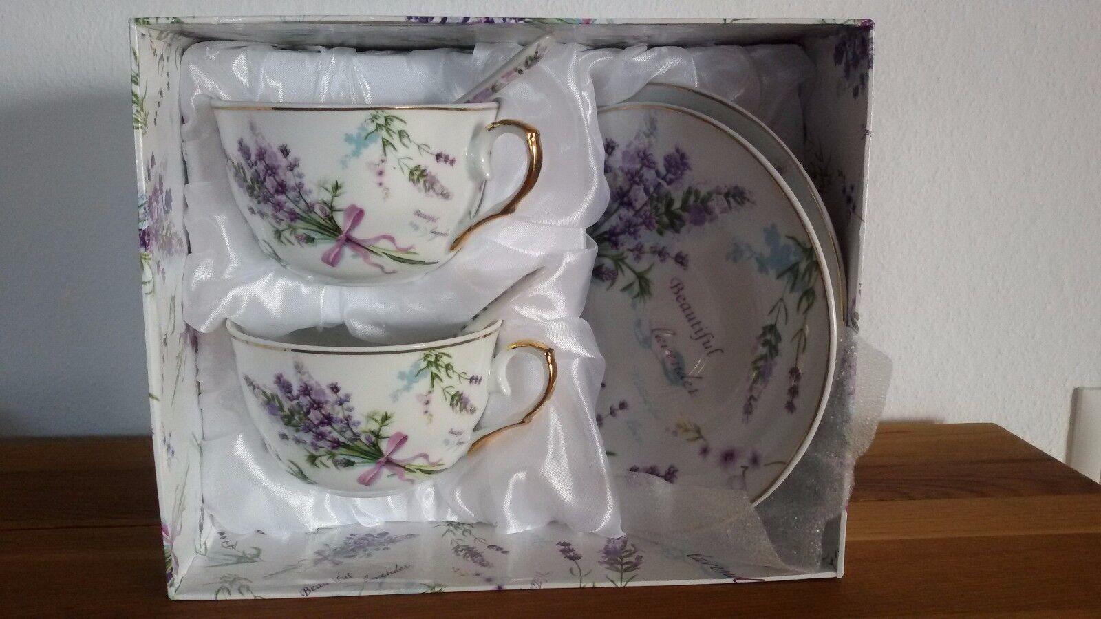 Set 2  Kaffeetassen +Untertassen Sammeltassen Porzellan  Gold 24 K  Lavendel    | Innovation
