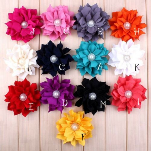 "50pcs 3.6/"" Lotus Leaf Fabric Flower For Headband Accessories"