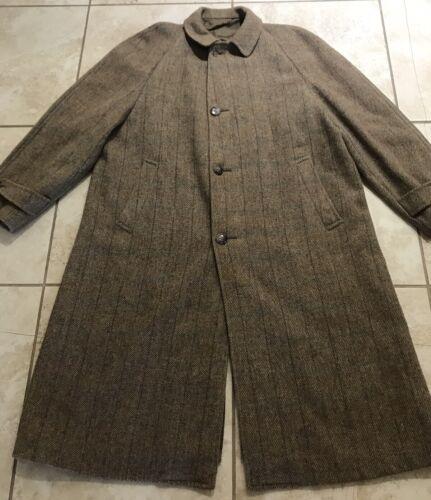 VTG Harris Tweed Over Coat Long Jacket Pure Scotti