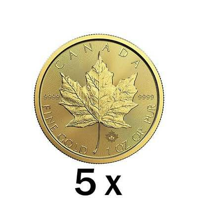 5 x 1 oz Gold 2018 Maple Leaf Coin RCM - Royal Canadian Mint